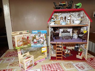 Sylvanian decorated Dolls House Fully Furnished with figures