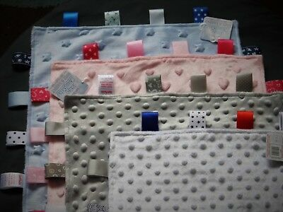 Baby Boy/Girl Taggie Comfort Blankets With Embossed Patterns 35 X 35 Cm