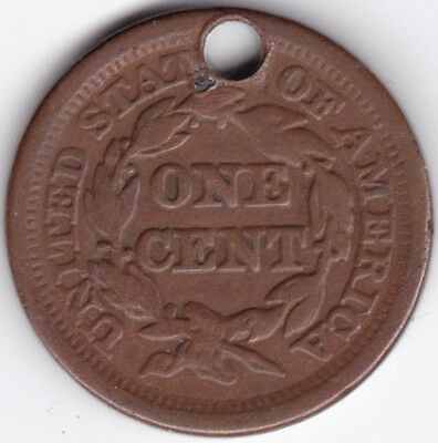 1851 U.S.A. Braided Hair One Cent***Collectors***Holed***