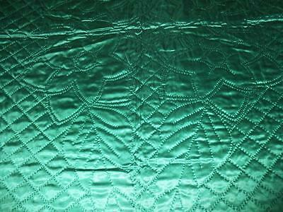 STUNNING Vintage  HAND MADE QUILT Emerald Green SATIN BED SPREAD Double size