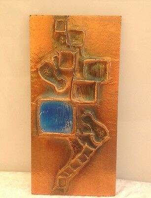 Vintage Retro Handcrafted Abstract Copper 3D Wall Sculpture Picture