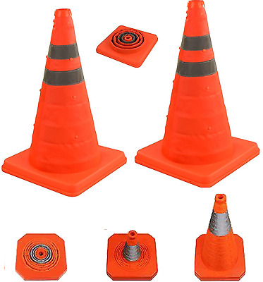2 x 45cm Pop Up Collapsible Portable Safety Cone Football Traffic Posts Driving