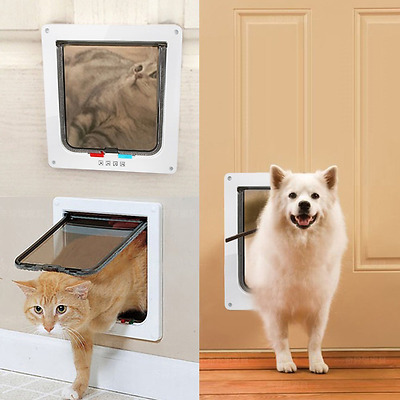 Cat Flap Large 4-Way Pet Door Kit for Cats and Small Dogs White