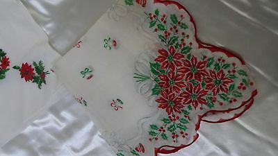 2 Christmas Holiday Handkerchiefs Hankies Red Embroidery Vintage Poinsettas