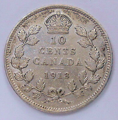 1913 SML Ten Cents VF ** HIGH Grade BETTER Date King George V Silver Canada Dime