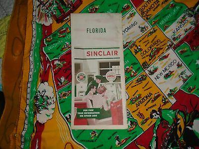 Vintage SINCLAIR Oil Gas Service Station Road Map FLORIDA