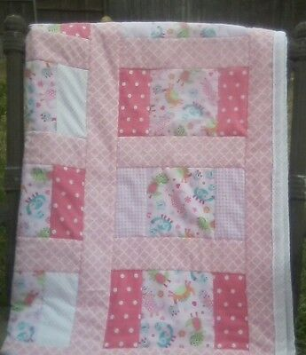 Baby Girl Lap Quilt,  LiL Monsters Quilt, Handmade, All new flannel fabrics