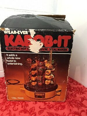 Wear-Ever Kabob It Electric Hot Hors D'oeuvre Meal Maker Machine & Skewers Box