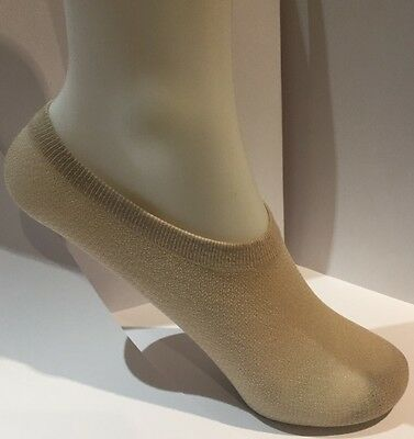Ladies 50%cotton-50%nylon Footsies (Shoe Liners) Size 4-7 In Nude, 2 Pair Pack