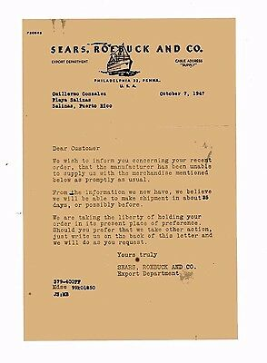Vintage Illustrated Commercial Letter / Sears, Roebuck & Co / 1947