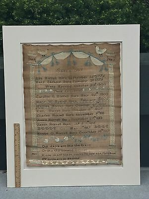 Rare Antique Folk Art Needlework Genealogy Sampler Morrell RHODE ISLAND C 1818