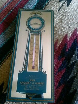 Advertising Thermometer Mirror ENTZ GROCERY & MARKET Silver Cliff Colo.