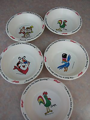 "Kellogg Cereal Bowls ""the Best To You Each Morning"" 1995 5 Bowls"