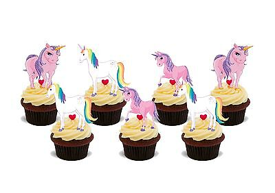 Unicorn edible cake/cupcake toppers wafer/rice paper x12