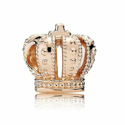 S925 EURO Charm 14K Rose Gold Plated Royal Crown Tiara Bead by Pandora's Angels