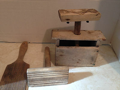 Antique Wooden Butter Press with Ribbed Paddle and Extra Press