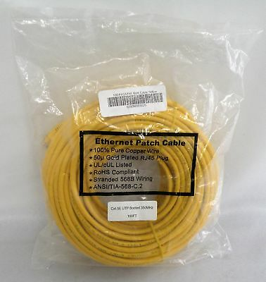 NEW 100 ft Cat 5e cable, cat 5e utp booted 350mhz 100ft ethernet cable