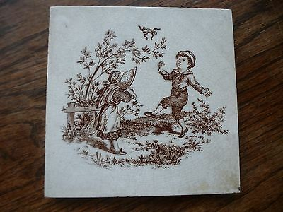Victorian Tile by Wedgwood Factory  c1890 Childrens pastimes series