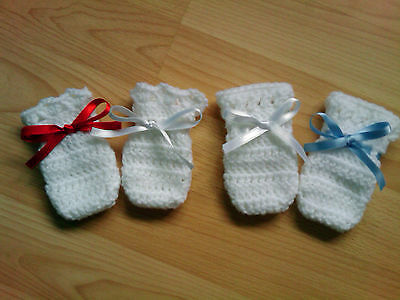 Handmade Crocheted Unisex Baby Mittens  2 styles in various colours 100% Acrylic