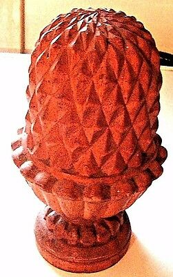 "ANTIQUE VINTAGE 7.5"" Hand Carved Wooden Pineapple Finial Fence  Bed Post"
