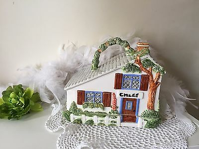 The Village Collectable cheese dish by Annie Rowe, Handpainted house cheese dome