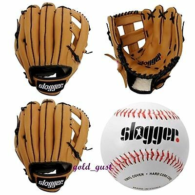 "New Slogger Baseball Brown Glove And Soft Ball 9"" Professional Players Kids Set"