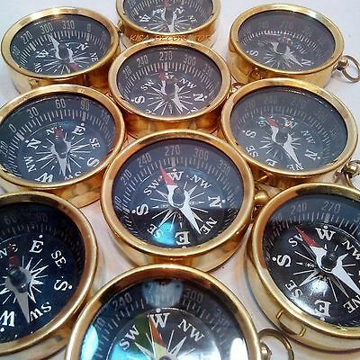Necklace Style Lot Of 50 Antique Brass Working Compass Nautical Gift