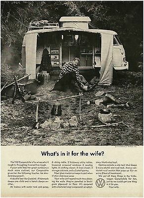1966 VW VOLKSWAGEN Campmobile What's In It For The Wife VTG PRINT AD