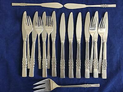 International Deluxe Stainless DANISH SCROLL LOT of 18 Knives Forks Flatware
