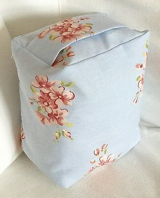 New Pretty Light Blue & Pink Vintage Style Flower Fabric Door Stop ... Unfilled