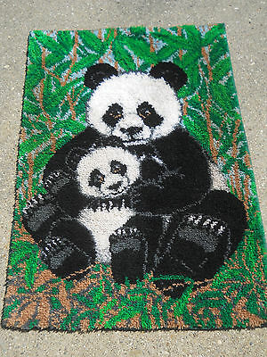 Completed Panda Bear Latch Hook Rug-Large Size-49x34--Mother Panda and baby
