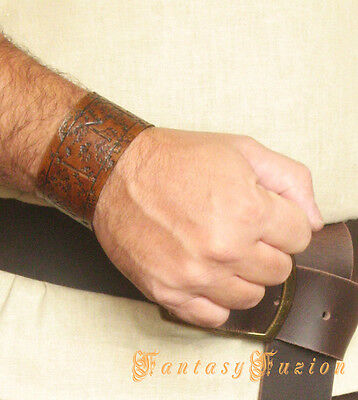 Medieval Celtic Viking Runic Custom Leather Cuff Bracelet