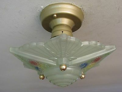 "SPECTACULAR! Antique ART DECO Geometric Light Fixture by ""CONSOLIDATED"" Restored"