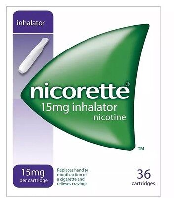 6 Packs of Nicorette 15mg Inhalator 36 Cartridges--2019 Expiry