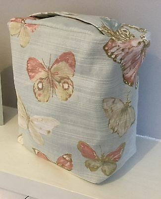 Pretty Pale Blue Pink & Ivory Butterfly Print Fabric Door Stop ... Unfilled