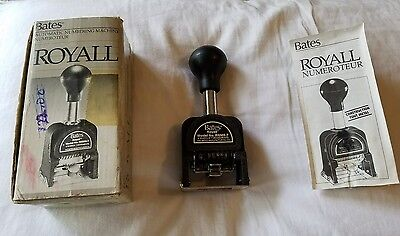 Bates ROYALL Automatic numbering machine in box with instructions. USED