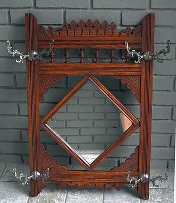 antique OAK CARVED Hat / Coat RACK w/   MIRROR & hooks
