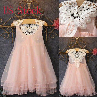 Flower Girls Summer Princess Dress Kid Baby Party Wedding Lace Tulle Tutu Dress
