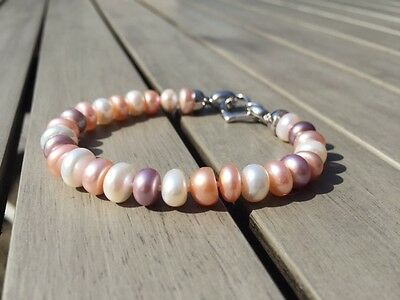 8-9 mm Natural Freshwater Multi Coloured Pearl Bracelet With Silver Heart Clasp
