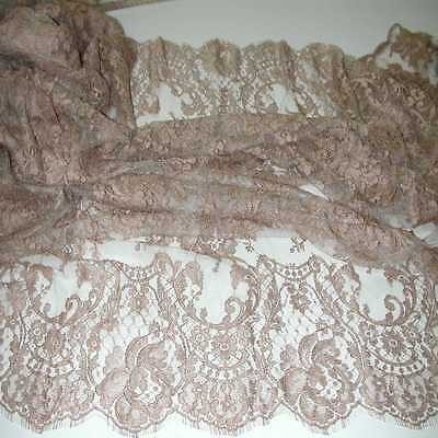 """OMBRE COCOA BROWN French Solstiss Chantilly Lace, Dbl Scallop, 53"""" x 5 Yards"""