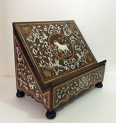 Antique lectern, inlaid wood, ebony, ivory, mother pearl, 1900s Excellent