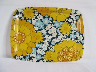 Lovely Vintage Retro 60's/ 70's Blue & Yellow Fibreglass Floral Serving Tray
