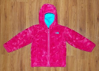 Toddler Girl's THE NORTH FACE Reversible MOSSBUD SWIRL Hooded Jacket 5 Pink Aqua