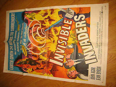 Invisible Invaders Orig, 1sh Movie Poster 59 gives Earth 24 hours to surrender!