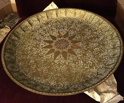 Vintage Middle Eastern Brass Hand Carved/Etched Rare Round Tray Dish Platter