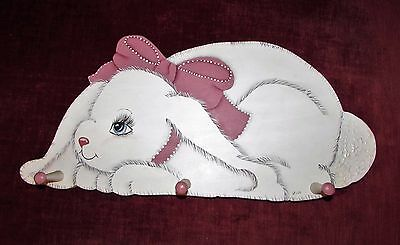 Vintage 3 Peg Hand Painted Bunny Rabbit Wood Wall Hanging Coat Rack ~ Signed