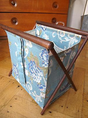 Vintage Folding Sewing, Knitting Basket/Caddy Cloth Bag Lined Wood Frame