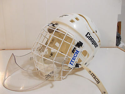 Vintage Cooper SK 600 Hockey Helmet with bubble cage & goaler neck protector
