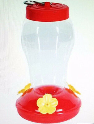 "NEW Red Plastic Hummingbird Feeder Nectar Flower 16 Oz ~ Size ~ 4.25""x4.25""x7"""