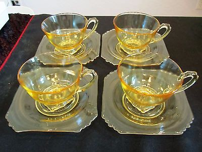 4 Vintage Fostoria Mayfair Square Yellow Cups and 5 Saucers